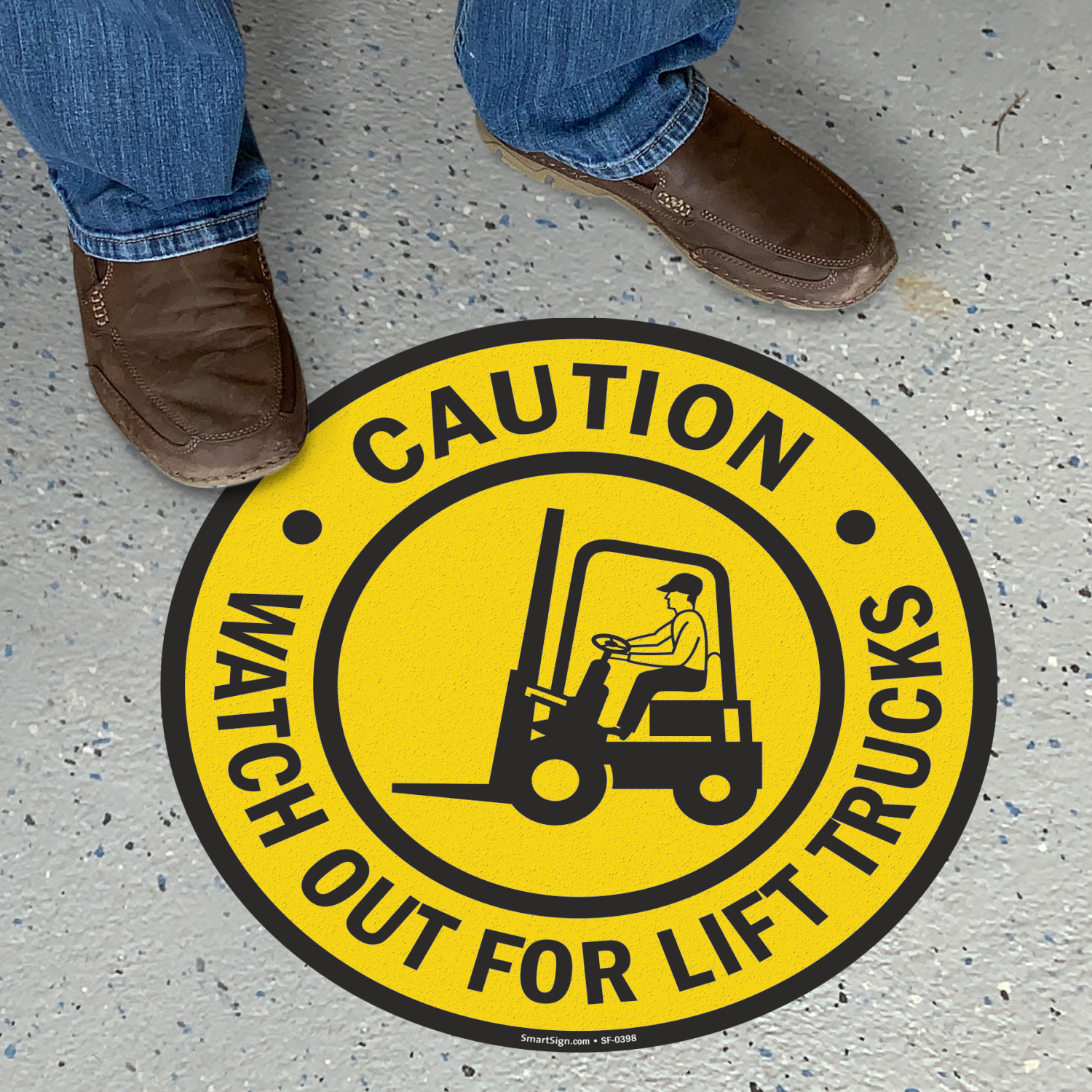 Caution Watch Out For Lift Trucks Floor Sign