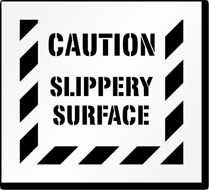 Caution Slippery Surface Floor Stencil