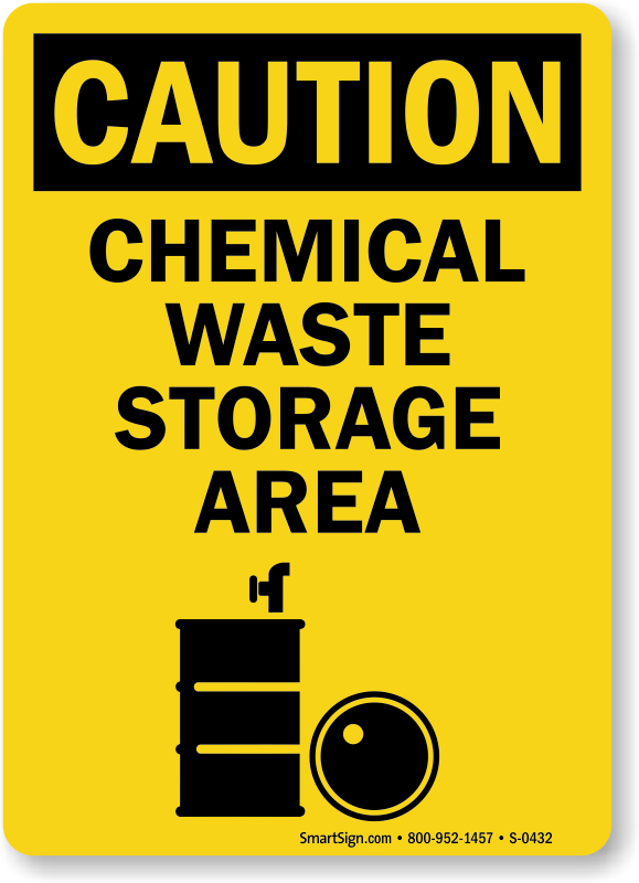 Caution Chemical Waste Storage Sign