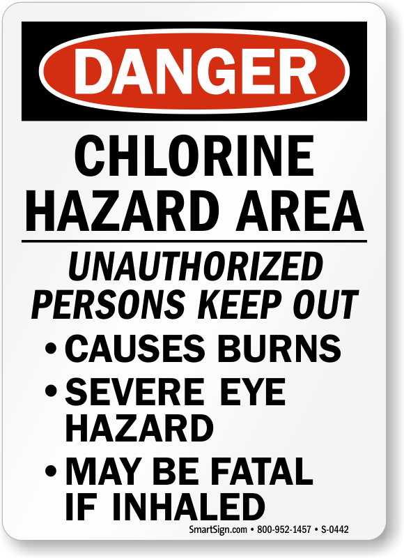 Chlorine Signs Chlorine Area Signs Chlorine Warning Signs