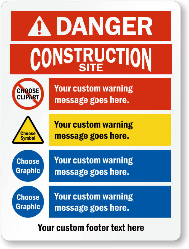 Choose Custom Headers, Cliparts And Add Warning Message Sign