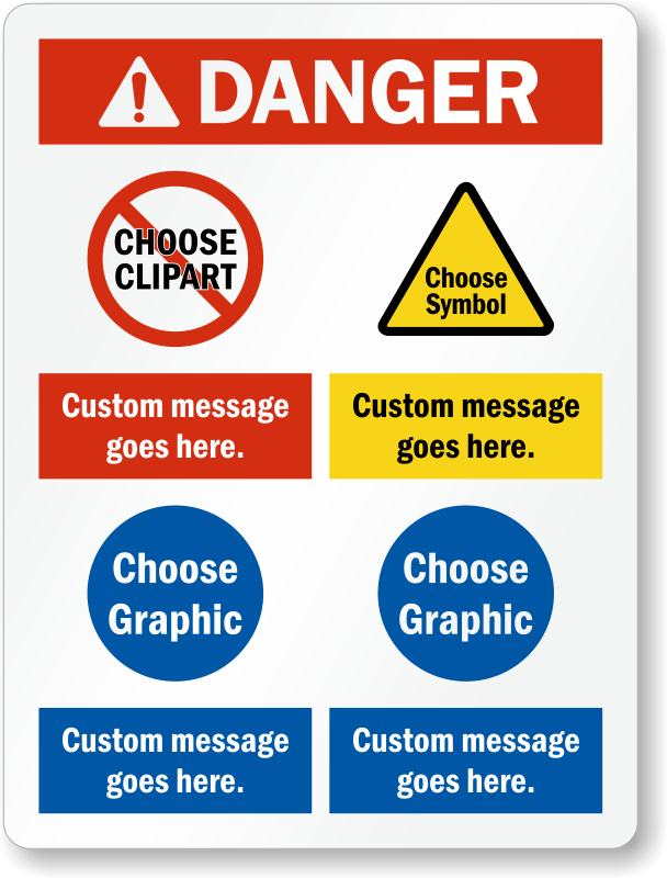 Choose Header, Add Custom Message And Select Cliparts Sign