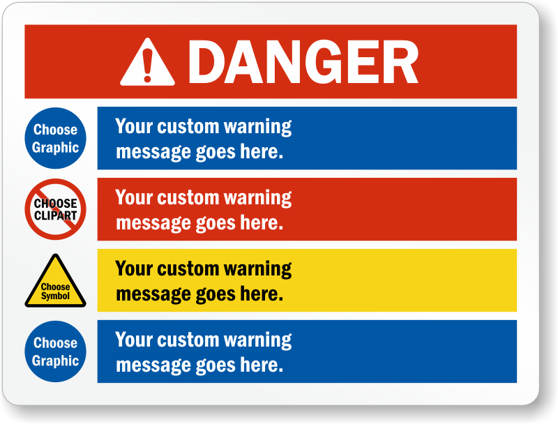 Choose Header, Select Cliparts And Add Warning Message Sign