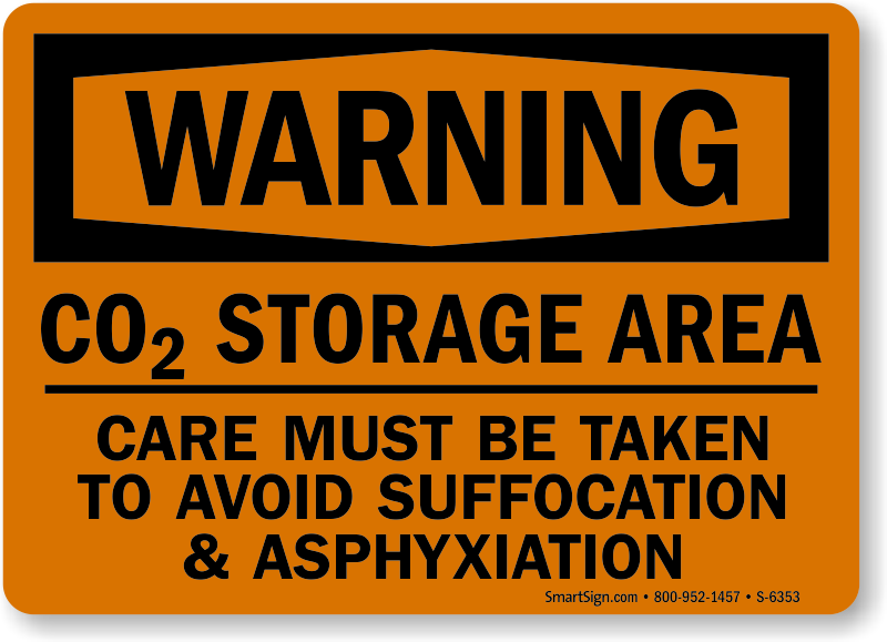 Co2 Storage Area Warning Sign