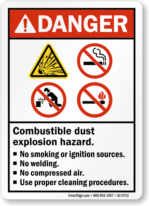 Combustible Dust Explosion Hazard No Smoking Welding Sign