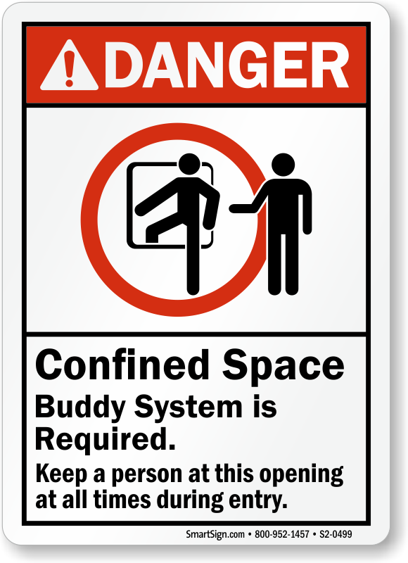 Confined Space Buddy System Required Danger Sign