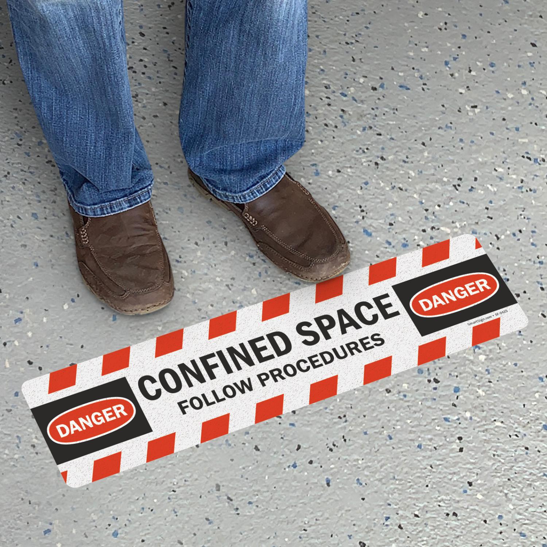 Confined Space Follow Procedures Osha Danger Floor Sign