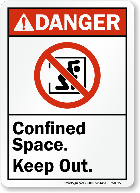 Confined Space Keep Out ANSI Danger Sign