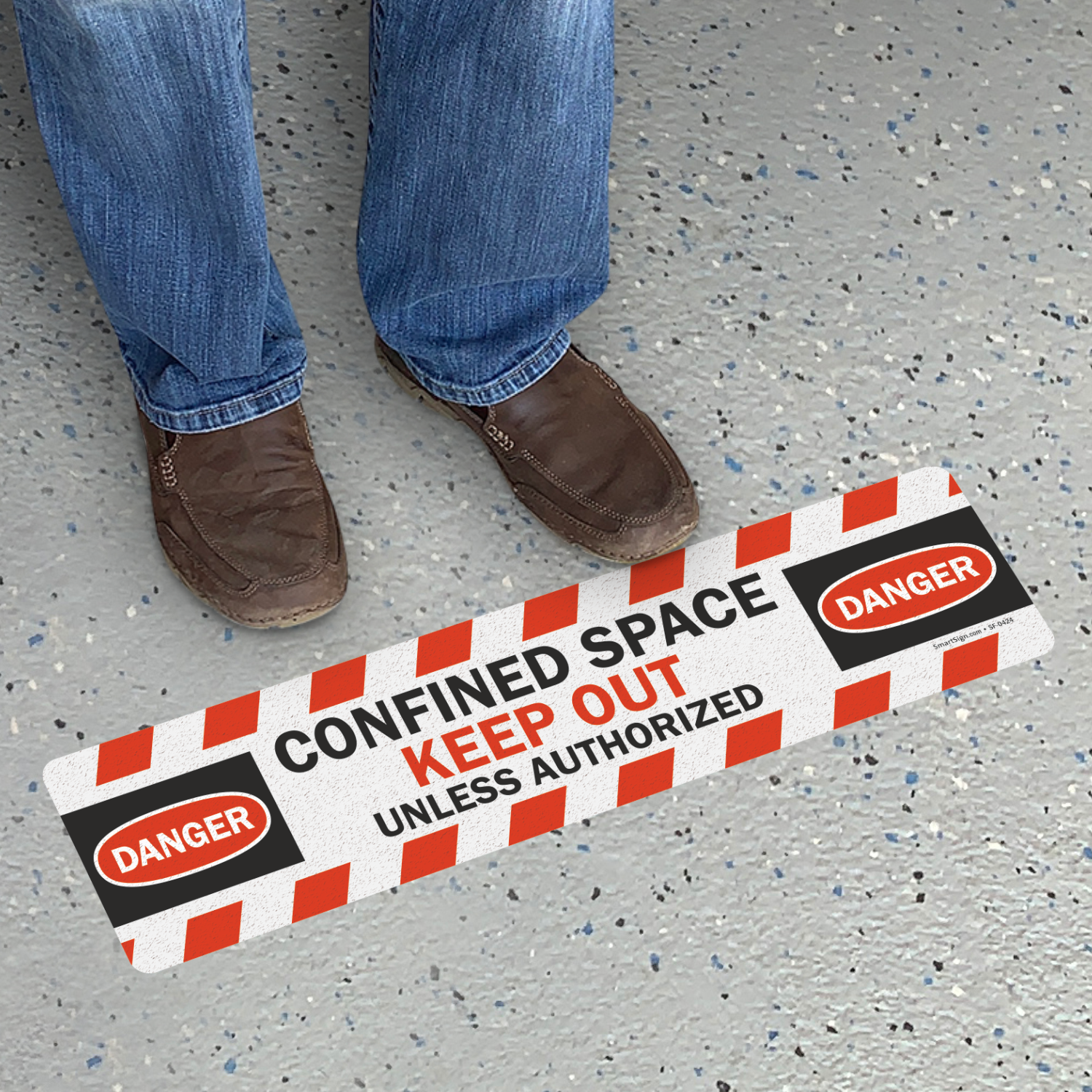 Confined Space Keep Out Unless Authorized Floor Sign