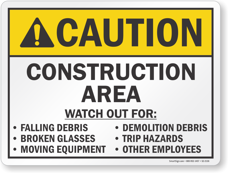 Construction Area Ansi Caution Sign Sku S2 2136