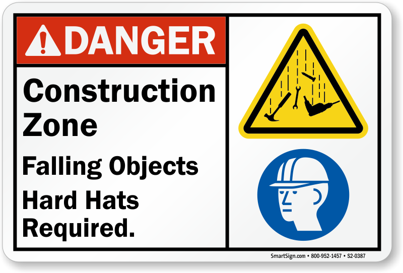 Construction Zone Falling Objects Hard Hats Required Sign