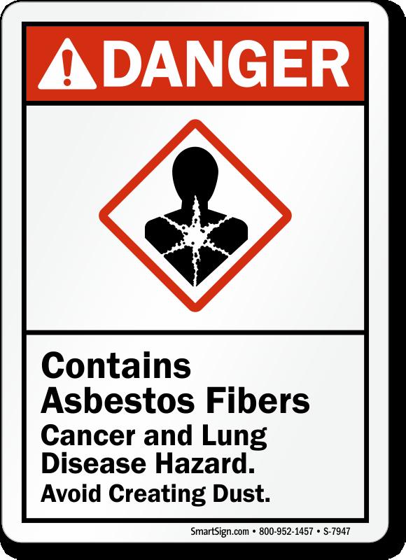 Contains Asbestos Fibers Cancer, Lung Disease Hazard Sign