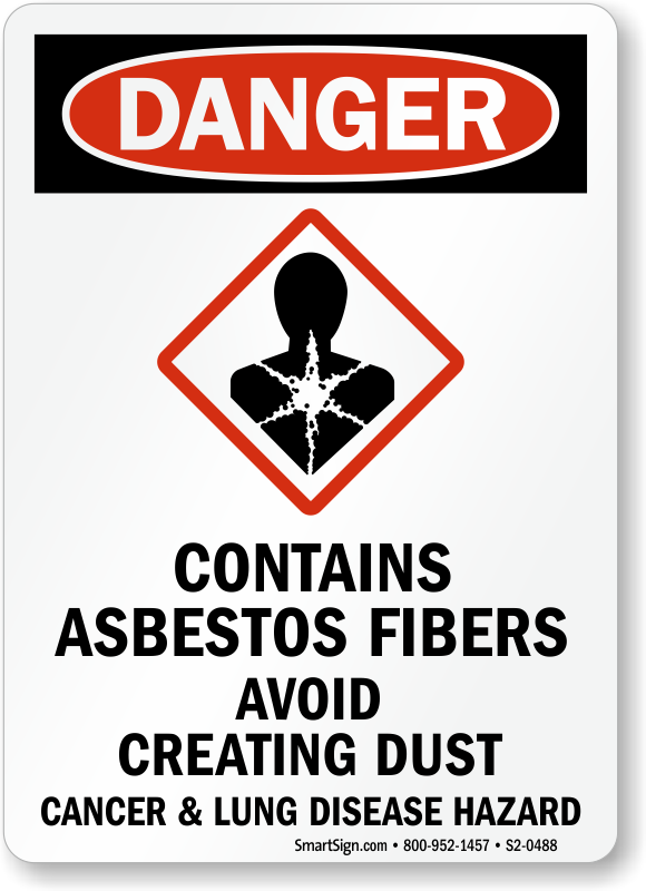 Contains Asbestos Fibers, Avoid Creating Dust Danger Sign