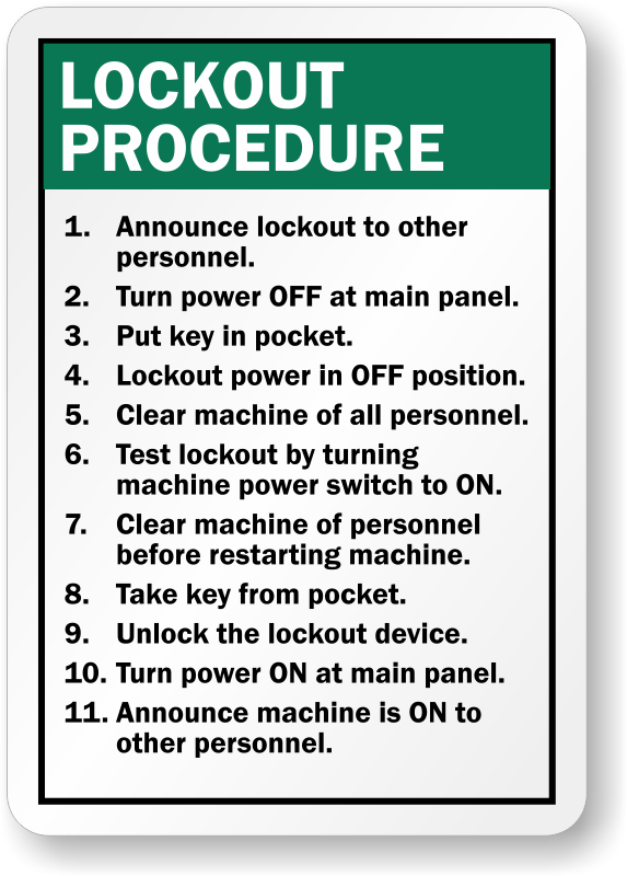 Custom Lockout Procedures Sign