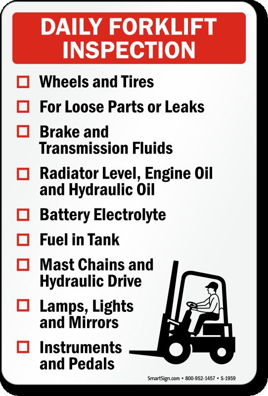 Forklift Inspection Signs Mysafetysign Com