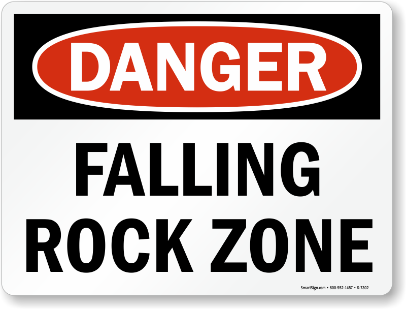 Rocking It Signs ~ Do not climb on rocks and rockfall warning signs