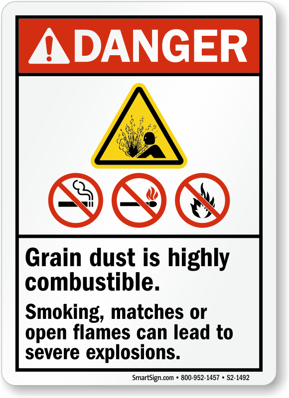 Grain Dust Is Highly Combustible, No Smoking Sign
