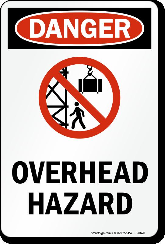 Overhead Hazard (with Graphic) - Danger Sign, SKU: S-8620 ...
