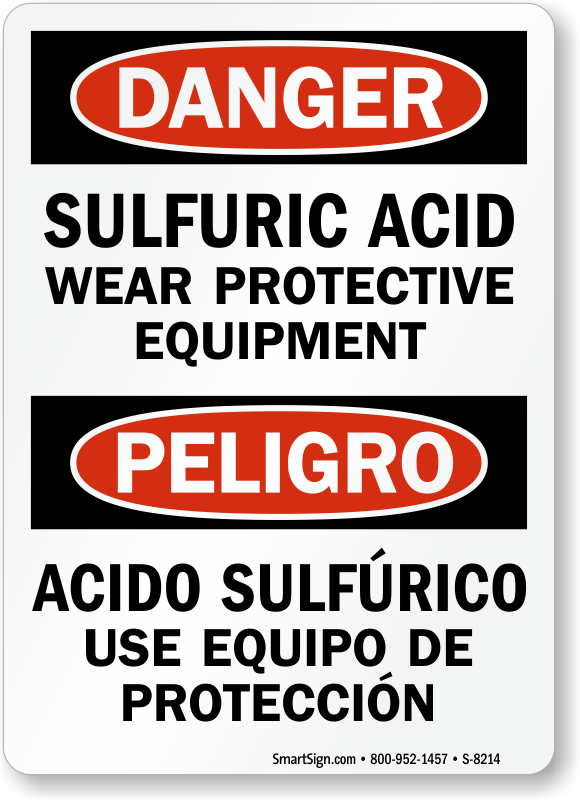 Sulfuric Acid Signs Sulfuric Acid Warning Signs