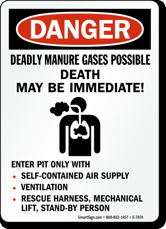 Deadly Manure Gases Possible Death OSHA Danger Sign