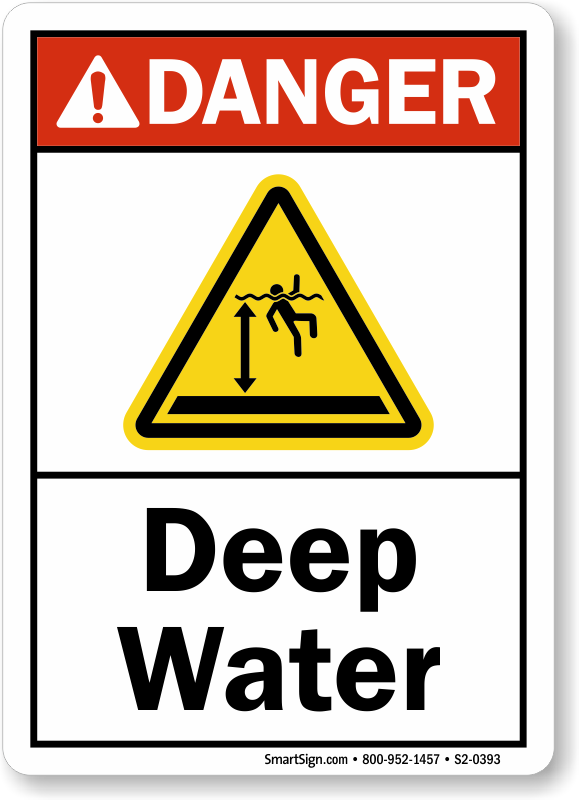 Deep Water ANSI Danger Sign With Graphic