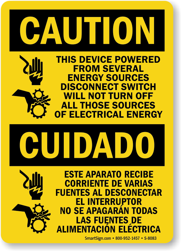 Device Powered From Several Energy Sources Sign