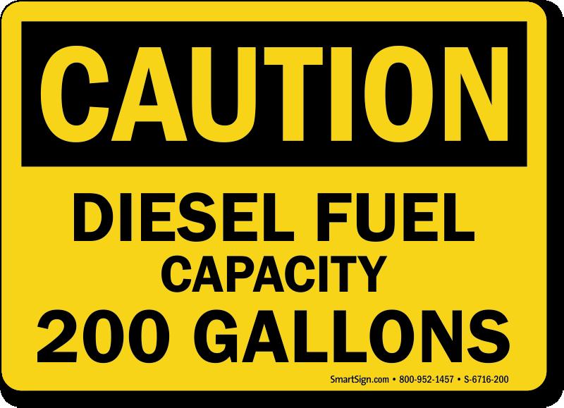 200 Gallons Diesel Fuel Capacity OSHA Caution Sign