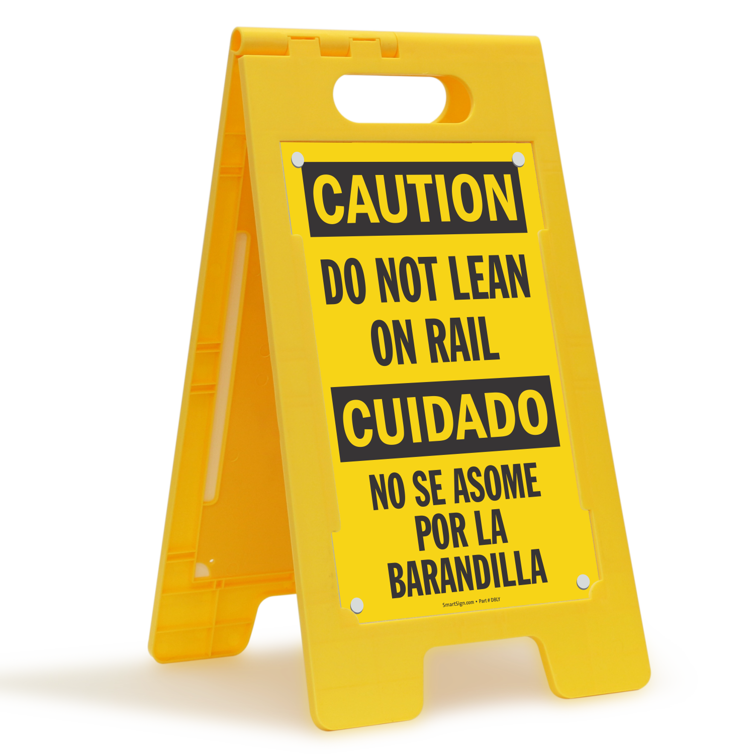 Do Not Lean On Rail Bilingual Floor Sign