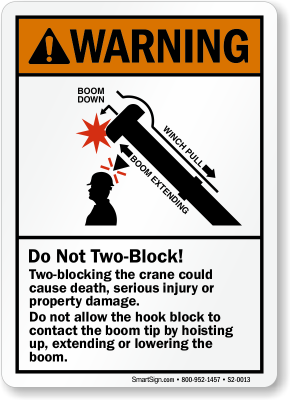 Two-Blocking The Crane Could Cause Death, Warning Sign