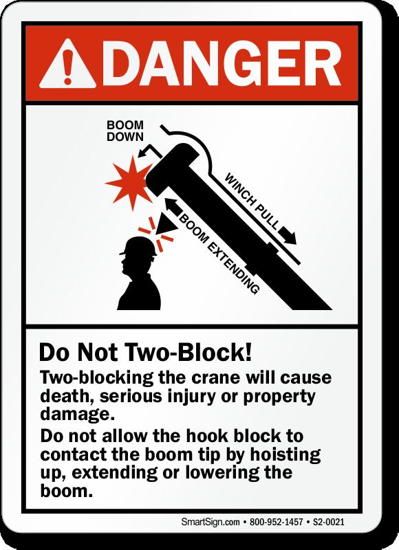 Two Blocking Crane Could Cause Death Ansi Danger Sign Sku