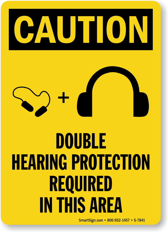 Double Hearing Protection Required Ppe Caution Sign