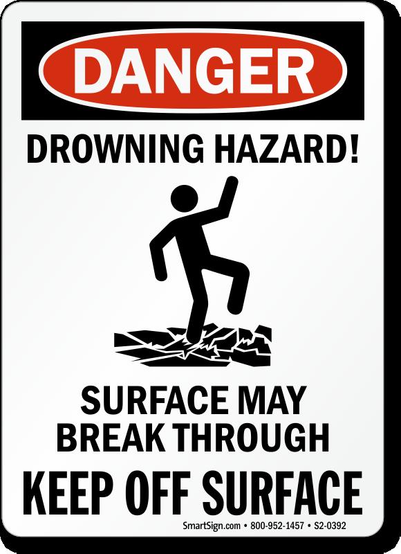 Drowning Hazard Surface May Break Through Sign