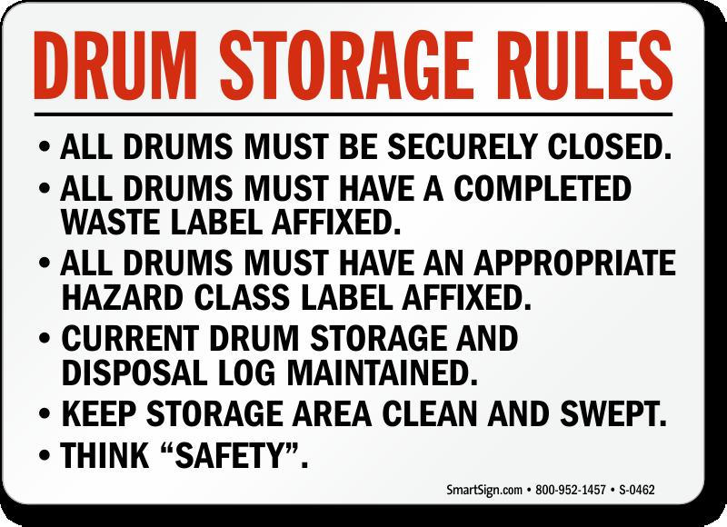 Drum Storage Rules