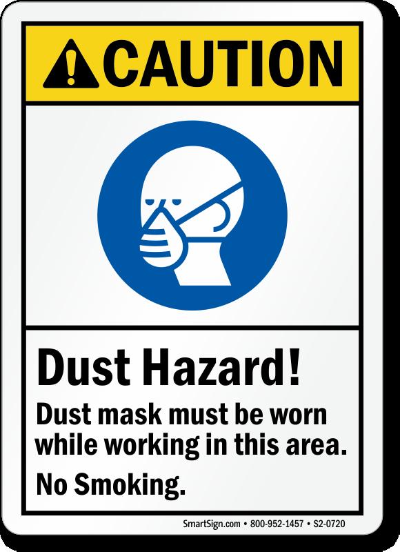 Dust Hazard Mask Be Worn, No Smoking Sign