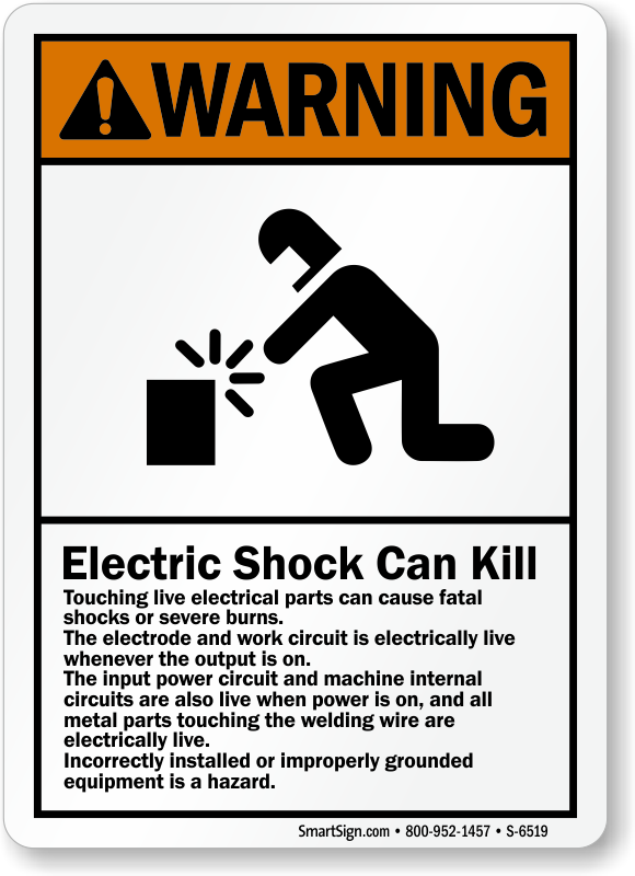 Electric Shock Can Kill Ansi Warning Sign Ships Fast