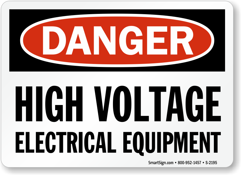 Electrical Safety Signs : Osha danger high voltage electrical equipment sign sku s