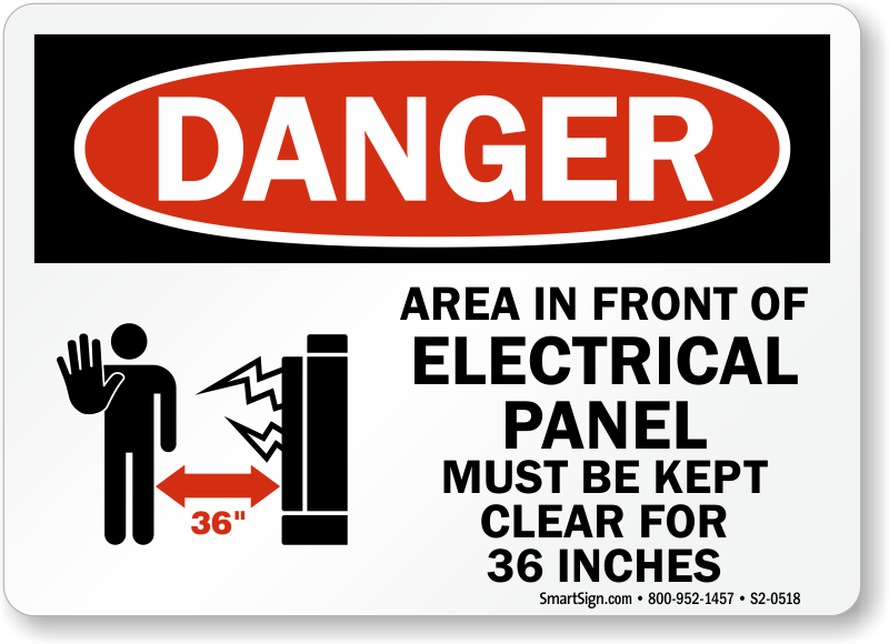 Electrical Panel Keep Clear 36 Inches Danger Sign