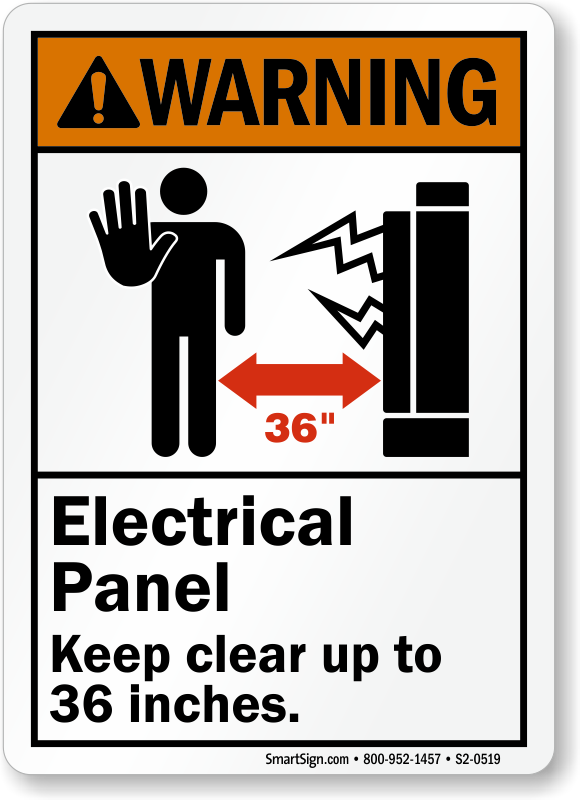 Electrical Panel Keep Clear Upto 36 Inches Sign
