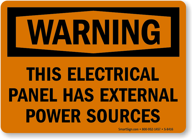 Multiple Power Source Signs Multiple Source Warning Signs