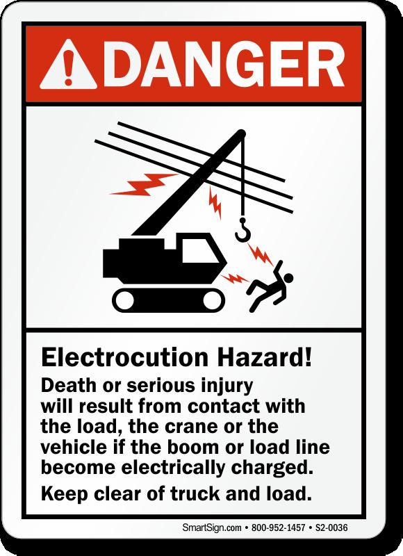 Electrocution Hazard Crane Safety Ansi Danger Sign Sku