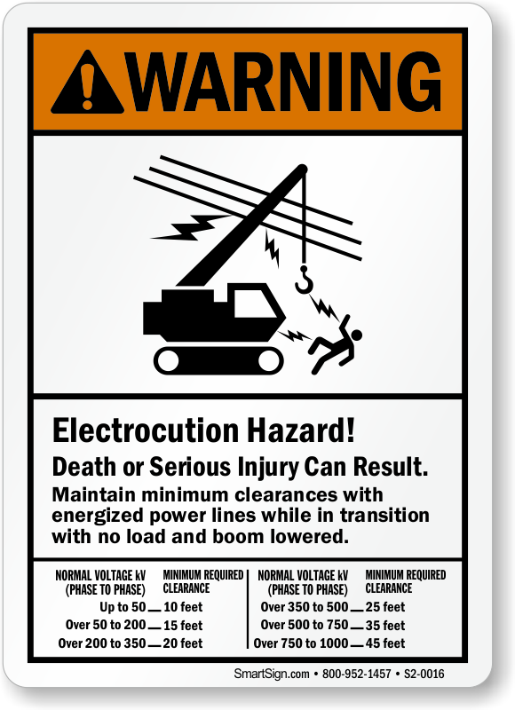 Minimum Clearances Energized Power Lines ANSI Warning Sign
