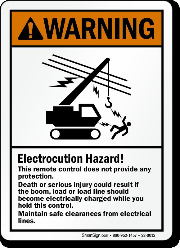 Electrocution Hazard, ANSI Electrical Lines Warning Sign