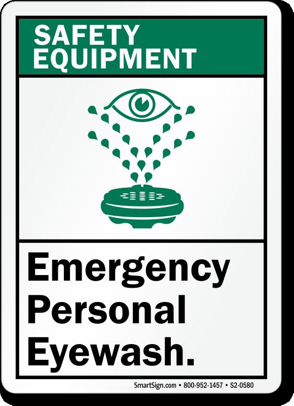 Emergency Personal Eyewash Safety Equipment Sign