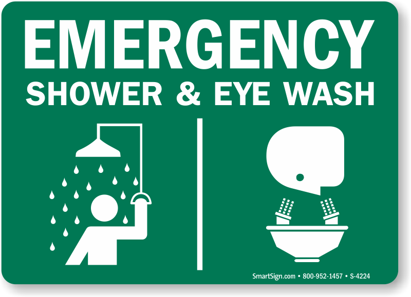 Eye Wash + Shower Combination Signs : Eyewash Signage