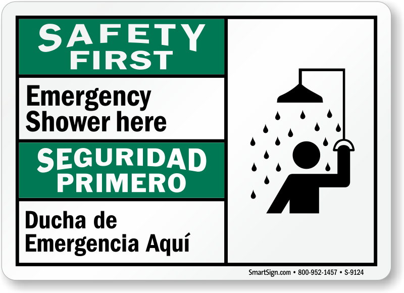 Emergency Shower Here Bilingual Sign