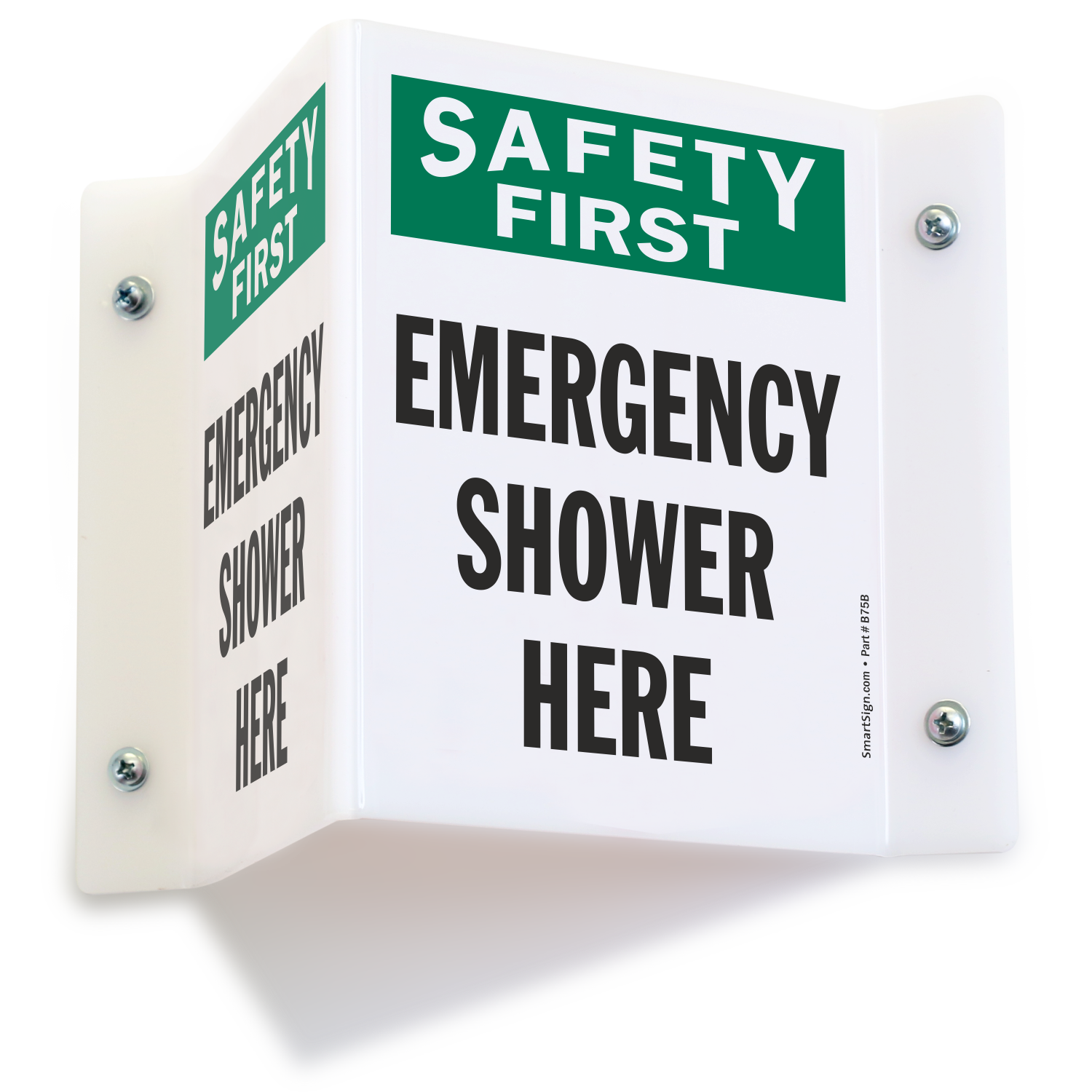 Emergency Shower Here Projecting Sign