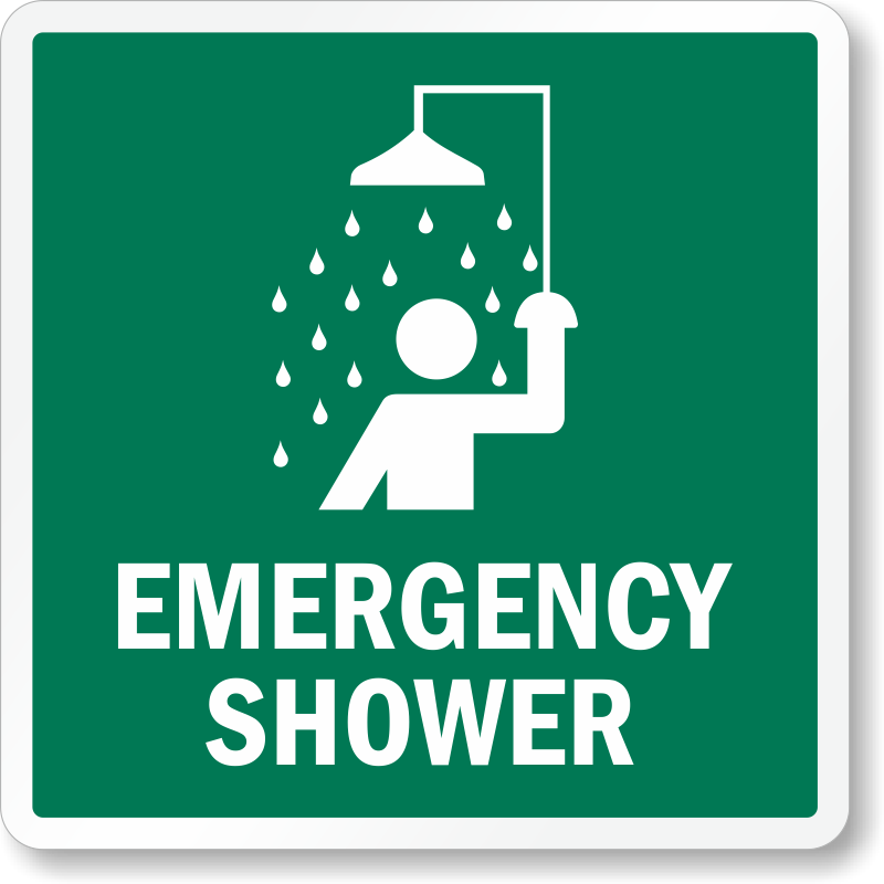 Emergency Shower With Graphic Sign