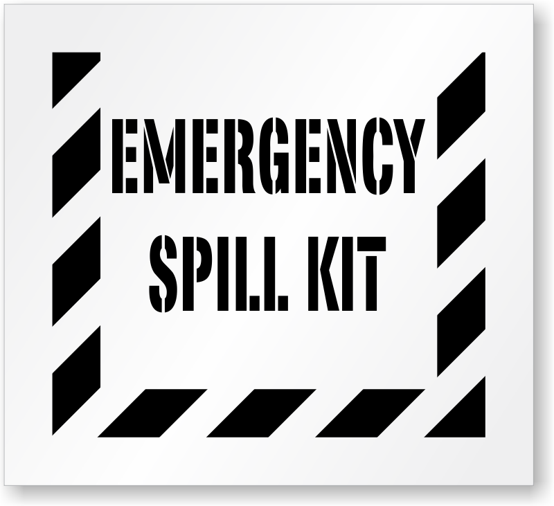 Emergency Spill Kit Floor Stencil