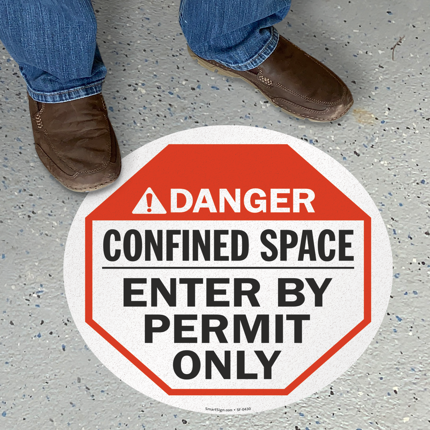 Confined Space Enter By Permit ANSI Danger Sign