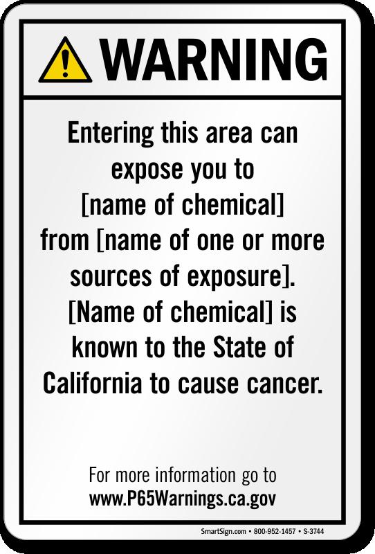 Environmental Exposure Prop 65 Sign
